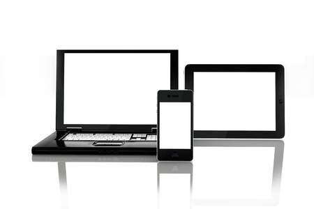 touch screen computer: Blank electronic screens,blank empty white screens of smartphone mobile, Tablet PC and a laptop. rendered in 3D ,screens left white to insert custom screens of your choice
