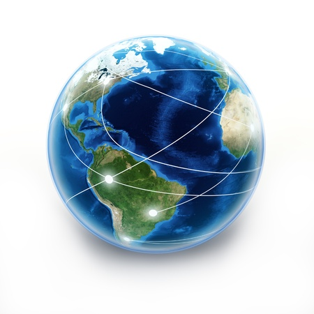 Internet Earth globe, globe with internet connection lines. texture from www.Nasa.gov  Stock Photo