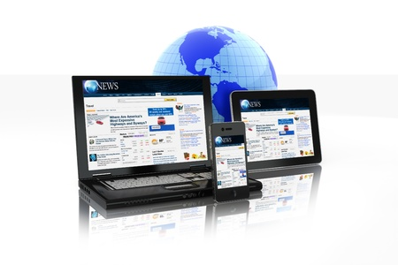 Multi platform Media Group of Electronic Devices tablet PC,laptop and business smart phone connected online  Banque d'images