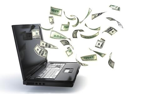 dinero volando: Ingresos en l�nea, conceptos de ganar dinero con su equipo, banca en l�nea, los costos de equipo, ganar la loter�a, inversiones, etc.. Aislado sobre un fondo blanco