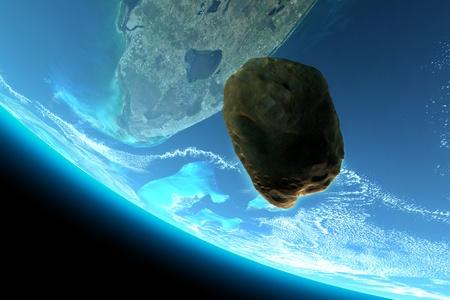 Meteor tumbling towards earth,texture from www.Nasa.gov, 300 D.P.I  photo