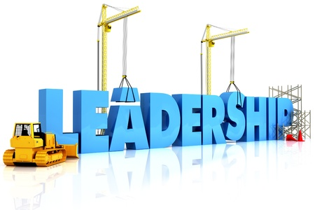 successful leadership: Building Leadership, building LEADERSHIP word, representing business development.