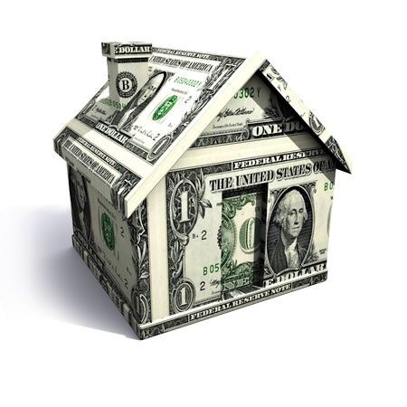 housing prices: Dollar house isolated on a white background