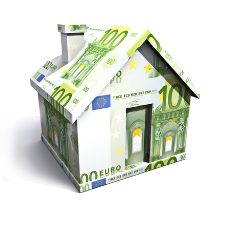 billets euros: Maison de euro isolée sur un fond blanc  Banque d'images