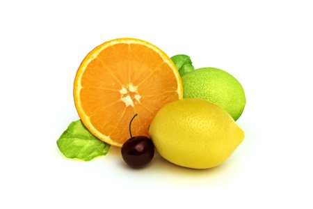 Concept fruit melody of an orange, lemon, lime, and cherry, 3d model 300 D.P.I isolated on a white background Stock Photo - 10750125