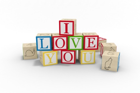 abc blocks: Wooden toy blocks spelling I love you isolated on a white background, 3D model, 300 D.P.I