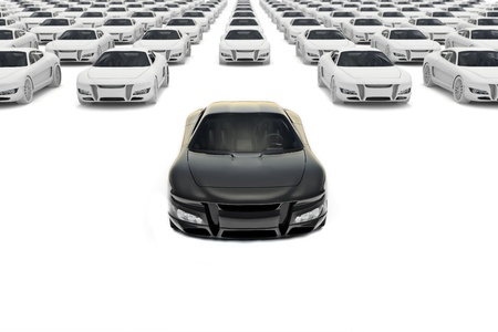 Front view of black sports car leaving the pack with hundreds white