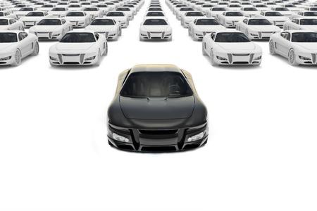 Vooraanzicht van zwarte sportwagen het verlaten van het pakket met honderden witte