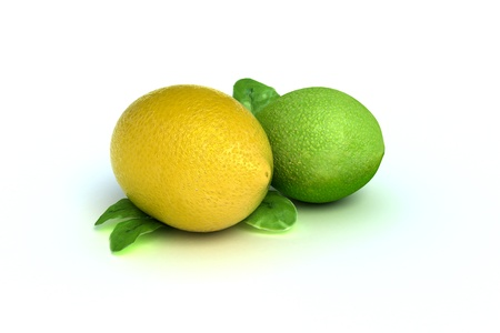 Concept fruit of a lemon and lime 3d model, 300 D.P.I isolated on a white background Stock Photo - 10750127