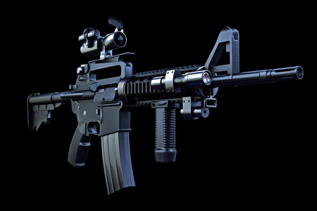 M4 tactical rifle with combat optics and laser sighting