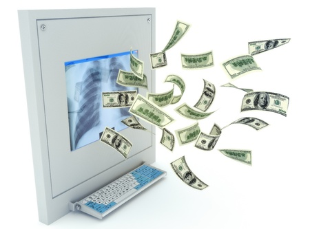 High Costs of Healthcare , money flowing from a medical x-ray machine isolated on a white background Stock Photo - 10750151