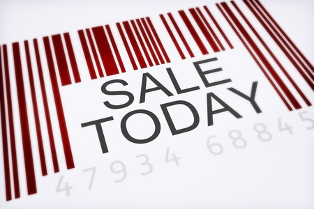 Product bar code concept of a big sale isolated on a white background . 300 D.P.I