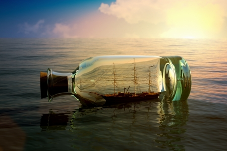 ship with gift: Ship in a bottle at sea concept