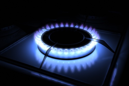 Gas stove burner with blue flame 3d model 300 D.P.I  Stock Photo - 10750149