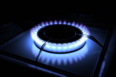 gas cooker: Quemador de gas estufa con modelo 3d llama azul 300 D.P.I  Foto de archivo