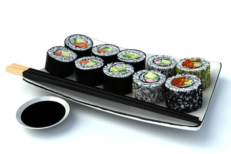 Sushi meal isolated on a white background , 300 D.P.I Stock Photo - 10750143