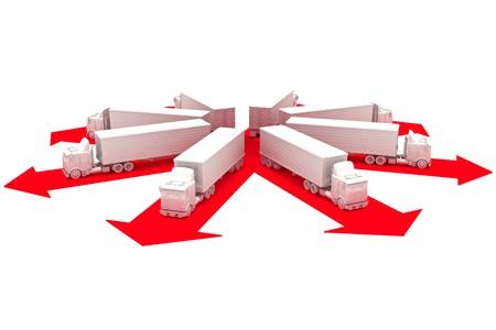Trucks uit voor de levering rubriek Stockfoto - 10750113