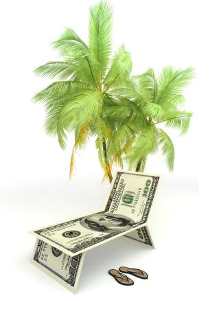 sandal tree: Planear unas vacaciones, el turismo, o concepto de ahorro de dinero con la palma de la mano y sandalias aislados sobre un fondo blanco Foto de archivo