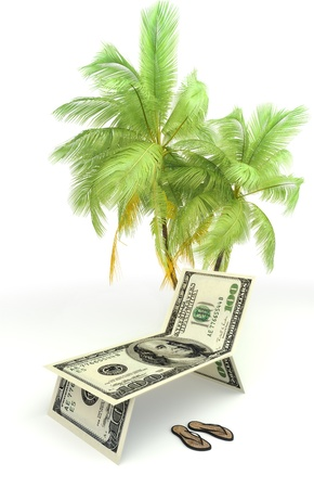 Planning a vacation,tourism,or saving money concept with palms and sandals isolated on a white background