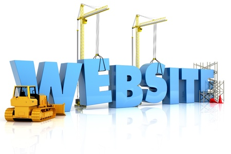 domains: Website building , under construction or repair isolated on a white background  Stock Photo