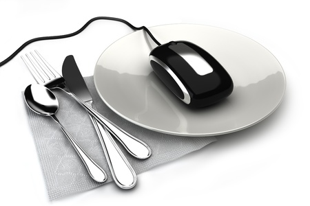 Ordering food online concept with mouse on a plate ordering food,takeout or groceries online. On a white background  Stockfoto