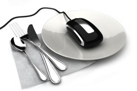 orden de compra: Ordenar concepto de alimentos en l�nea con el rat�n sobre una placa de pedidos de alimentos, comida para llevar o tiendas de comestibles en l�nea. Sobre un fondo blanco