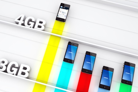 The power of 4G , Smart phone concept using the speed of 4G Technology for faster information and speed of use. Stock Photo - 10801682