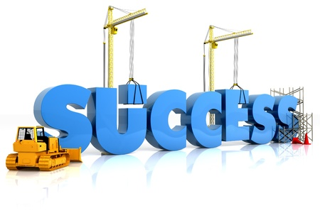 Building your success, building SUCCESS word, representing business development.