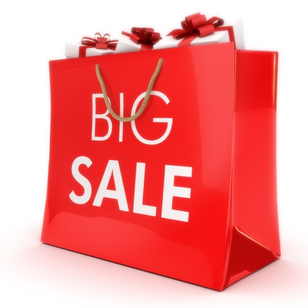sales person: Big sale ,gift bag with gifts, Part of a series  Stock Photo