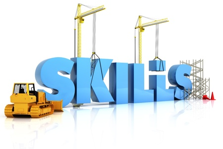 computer training: Building skills concept, SKILLS word, representing development in sports ,recreation , or work place  Stock Photo