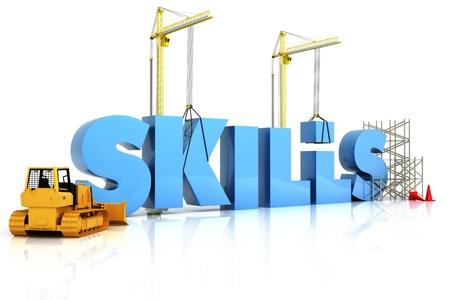 training: Gebouw vaardigheden concept, VAARDIGHEDEN woord, die de ontwikkeling in de sport, recreatie, of op het werk plaats Stockfoto