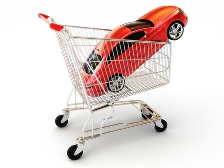 sales person: Car shopping, red luxury sports car in a shopping basket. Part of a series  Stock Photo