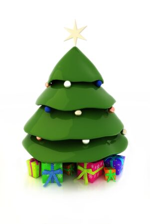 Christmas tree, cute fresh concept with presents Stock Photo - 11083854