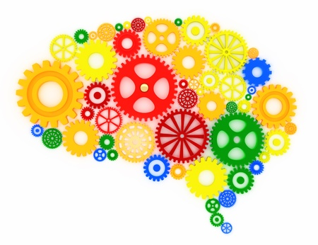assorted gears in the shape of a brain, concept Stock Photo