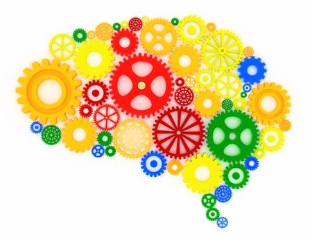 tandwielen: diverse versnellingen in de vorm van een brein, concept Stockfoto