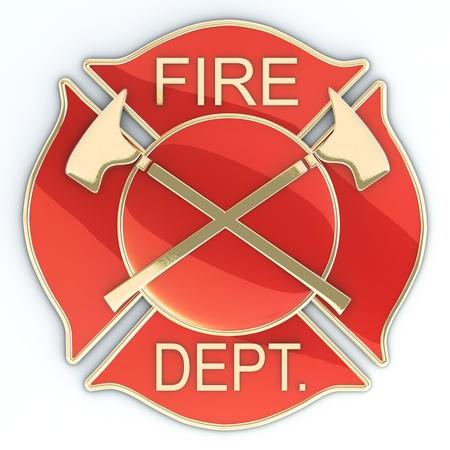 departamentos: Departamento de bomberos cruz de Malta insignia o s�mbolo con hachas, rojo con incrustaciones de oro con la reflexi�n. Imagen en 3D Foto de archivo