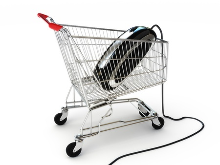 Online internet shopping , A mouse in a shopping cart concept on a white background, part of a series  Stock Photo - 11083862