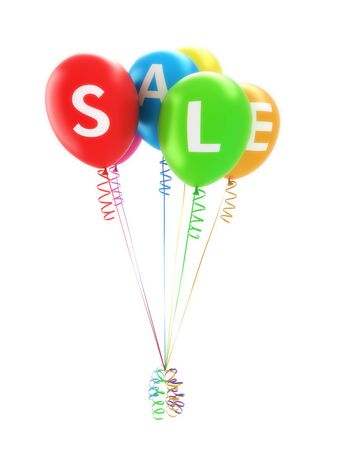 Balloons spelling sale for advertisement of a big sale event or promotion on a white background  photo