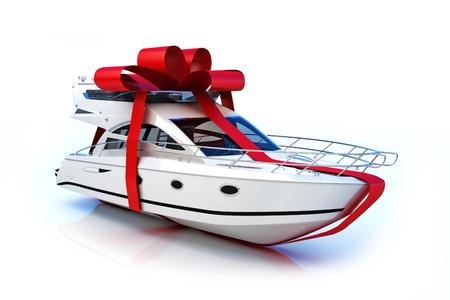 yachten: Das gro�e Geschenk, Boot mit roter Schleife, auf einem wei�en Hintergrund, Teil einer Serie. 300 DPI 3D-Modell