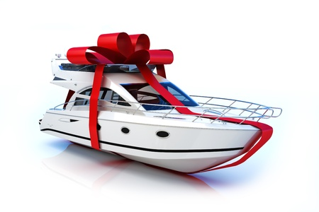bow of boat: The big gift, Boat with red bow, isolated on a white background,Part of a series. 300 D.P.I 3D model  Stock Photo