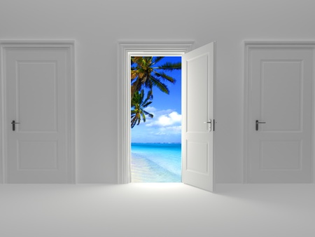three dimensional accessibility: Door to paradise, beautiful island view behind an open door concept.