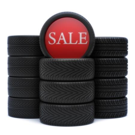 pisar: Neumáticos, llantas de automóviles en venta con 3 variantes de banda de rodadura con un cartel de venta