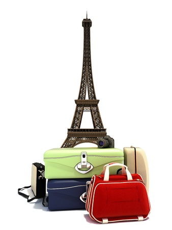 Traveling the world, suitcases with a digital camera ,and the Paris Eiffel tower in the background.  Stock Photo - 20163860