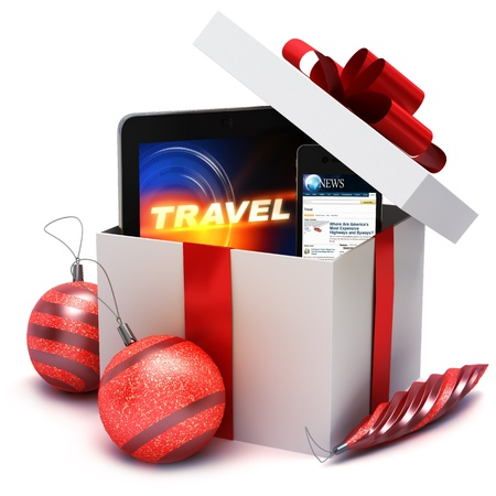 christmas shopping bag: Holiday present with electronic gifts, computer tablet and smart phone