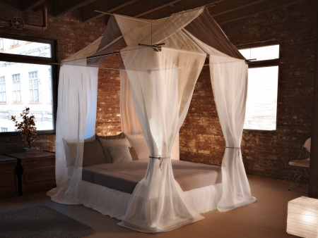 Rustic elegance, An elegant bed in a rustic room setting concept