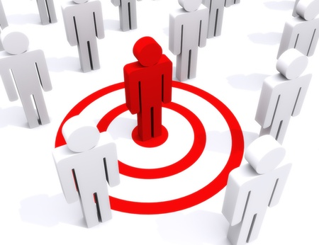 employment issues: Target of perfection, standing out from the crowd, center of attention concept