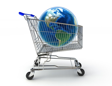 Shopping around the world concept. Texture from www.nasa.gov photo
