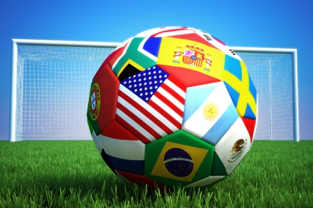 objects: World of soccer,3d rendering of a soccer ball with countries and a goal in the background