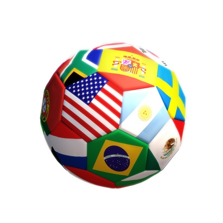 3d rendering of a Soccer or football with countries isolated on a white background