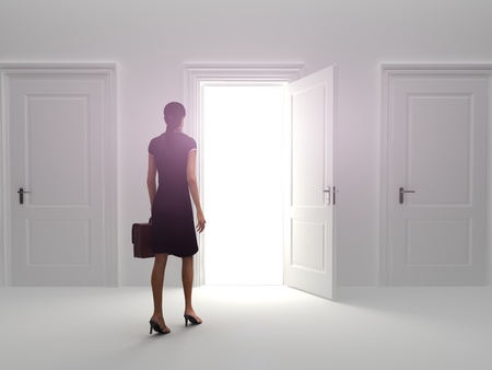 Door to success, Business female choosing the entrance to an open door.